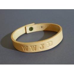 Kožený náramok 12mm - prírodný WWJD