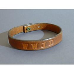 Kožený náramok 12mm - svetlo hnedý  WWJD